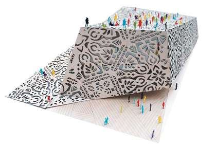 papercraft inspired buildings unexpected polish