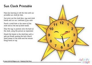 printable sun clock more summer printables
