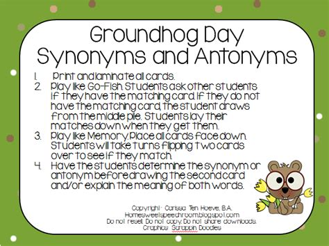groundhog day saying meaning groundhog day synonym and antonym cards