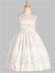 Dresses gt white silk w embroidered tulle lace communion dress