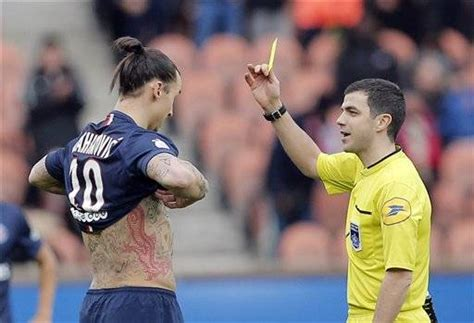 ibrahimovic tattoo yellow card psg coach blanc criticizes ibrahimovic for taking shirt off