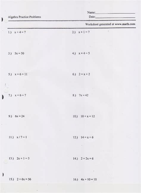 One Step Equations Worksheets by One And Two Step Equations Worksheet Worksheets