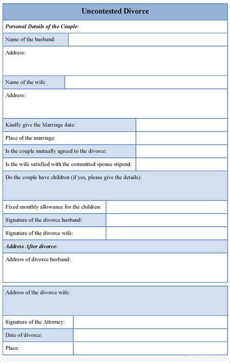 fake divorce papers template uncontested divorce form page