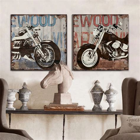 motorcycle home decor vintage harley motorcycle canvas wall art modern home