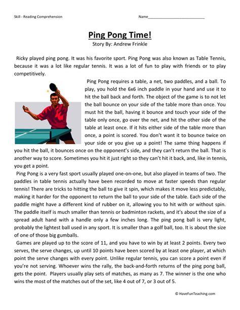 reading comprehension test for 5th grade reading comprehension worksheet ping pong time