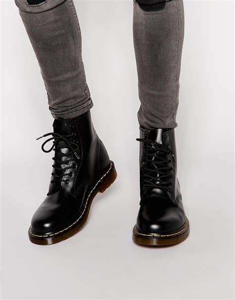 mens doc martin boots dr martens original 8 eye boots in black for lyst