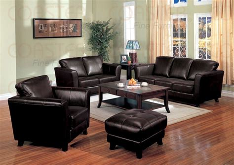 brady leather living room set in brown sofas