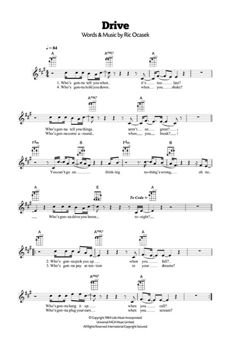 drive lyrics cars drive sheet music by the cars ukulele 120498