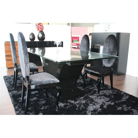 High Gloss Black Lacquered Rectangle Glass Top Dining Table Black High Gloss Dining Table