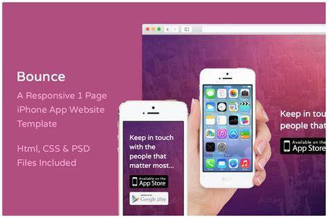 iphone app website template free bounce iphone app website template website templates on