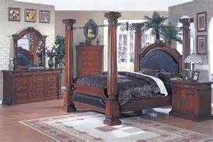 cherry finish canopy bedroom set with leather upholstery