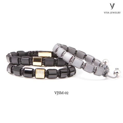 stylish square stainless steel bead bracelet