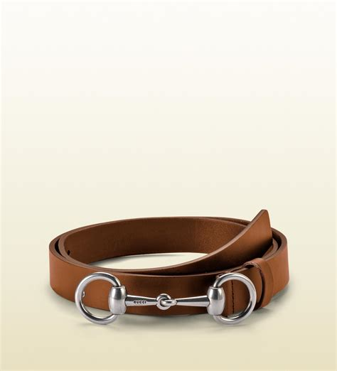gucci cuir leather belt with horsebit buckle in brown for