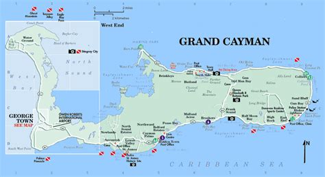 grand cayman map road map grand cayman
