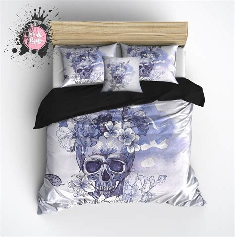 purple and blue watercolor flower sugar skull bedding