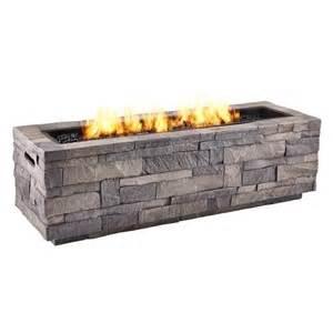 Lowes Outdoor Firepit Real Grey Ledgestone 65 000 Btu Liquid Propane Rectangular Pit Lowe S Canada