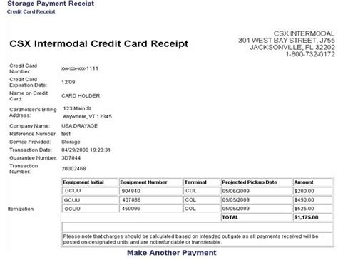 Credit Card Transaction Receipt Template by Create A Credit Card Payment