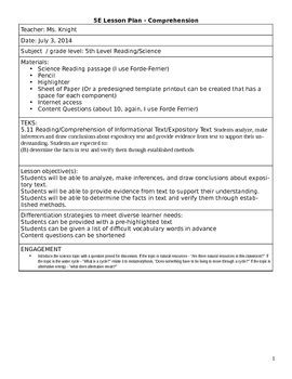 5e science lesson plan template reading comprehension science integrated 5e lesson plan