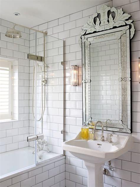 good  white mirror bathroom  subway tile shower