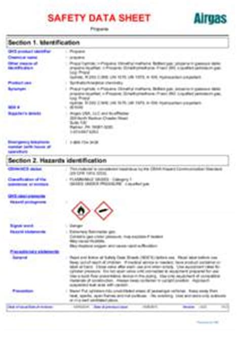 Safety Data Sheet Sections by Airgas Idmarch Document Search Engine