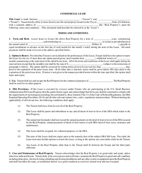 Commercial Lease Renewal Letter Commercial Lease Renewal Letter Sle Free New Jersey Commercial Lease Agreement Pdf 7 Page S