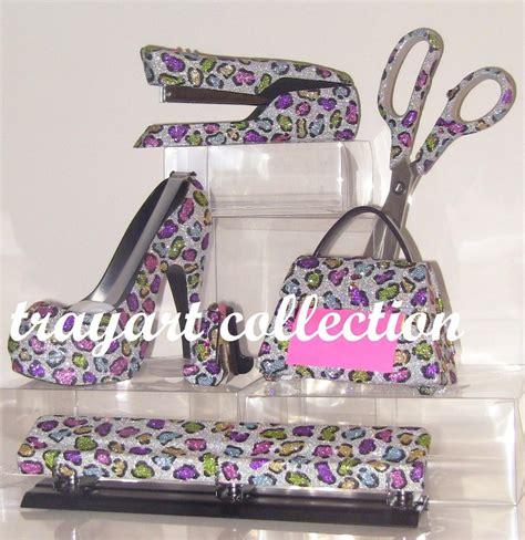 high heel stapler 6pc rainbow leopard set stapler scissors high heel