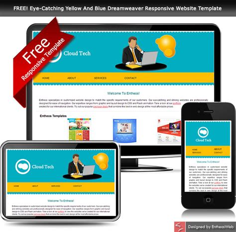 Free Eye Catching Yellow And Blue Dreamweaver Responsive Website Template Entheos Dreamweaver Mobile App Template