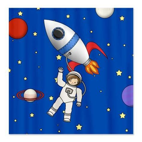 rocket ship curtains cute space walk astronaut shower curtain cartoon