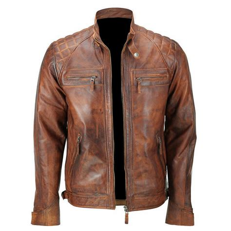 mens biker vintage motorcycle classic diamond brown