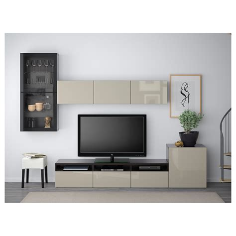 tv besta best 197 tv storage combination glass doors black brown