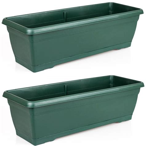 trough planter box large 72cm garden plastic trough balcony planter flower plant pot tub window box ebay