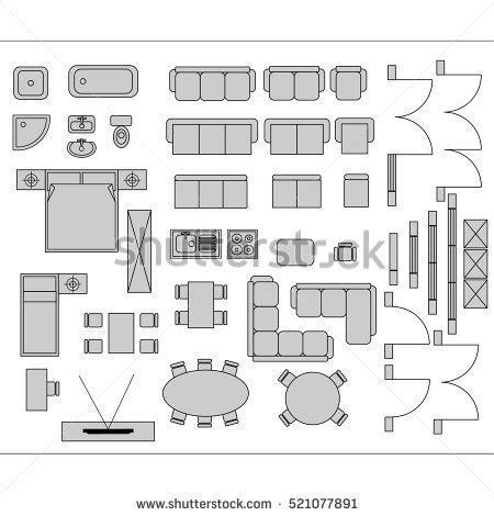 architectural drawing symbols floor plan architecture plan furniture top view stock vector