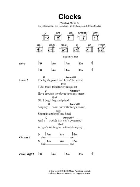 coldplay yellow chords easy clocks by coldplay guitar chords lyrics guitar instructor
