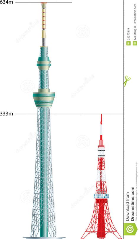New Floor Plan by Tokyo Tower Vs Sky Tree Royalty Free Stock Images Image