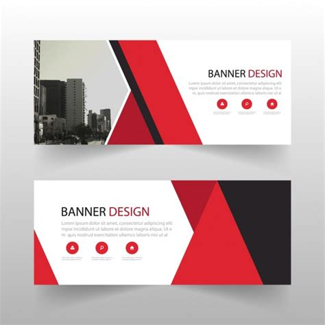 banner design editor red geometric banner with abstract shapes vector free