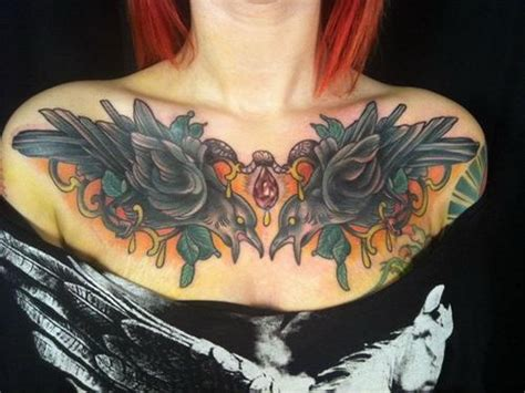 chest piece tattoos female birds chest