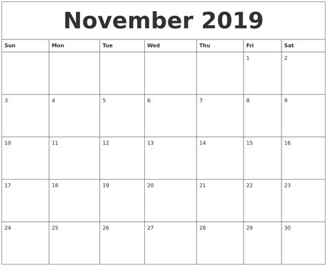 free monthly calendar templates november 2019 free monthly calendar template