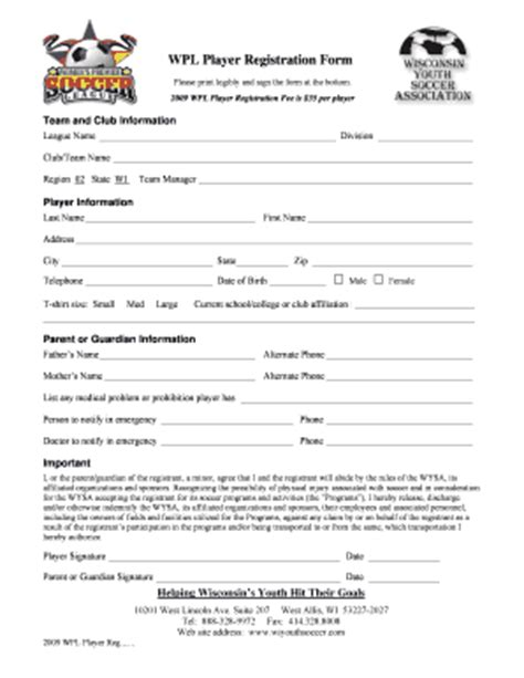 soccer registration form template player registration form template word fill