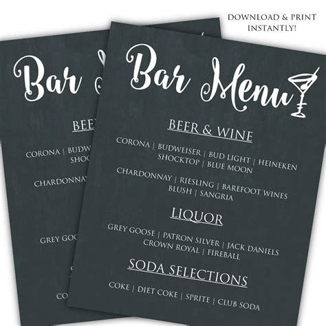 printable diy bar menu template posh pixel designs