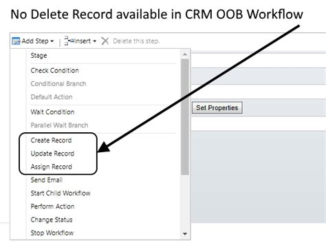 Removing Records Where Is Delete Step In Crm Workflow Crm Software