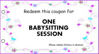 babysitting gift certificate template free printable babysitting gift certificate