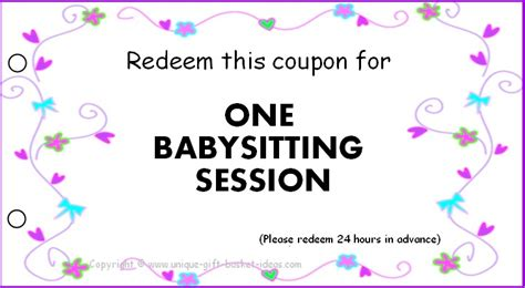 babysitting coupon book template printable babysitting gift certificate