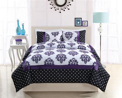 purple twin comforter bed ink franchesca purple dot twin comforter with sham