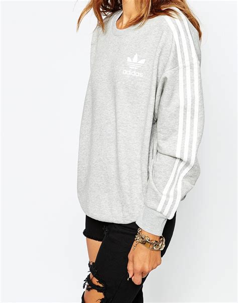 Oneck Stripes Grey adidas originals 3 stripe crew neck sweatshirt in gray lyst