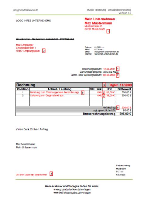 Rechnung Freiberufler Welche Steuernummer Muster Einer Umsatzsteuerpflichtigen Rechnung