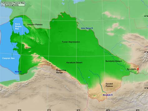 turkmenistan physical map turkmenistan physical map a learning family