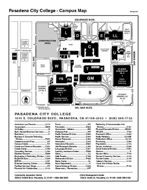 cerritos college map pasadena city college cus map 1570 e colorado blvd