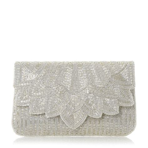 beaded clutch bag dune eloise petal beaded clutch bag in metallic lyst