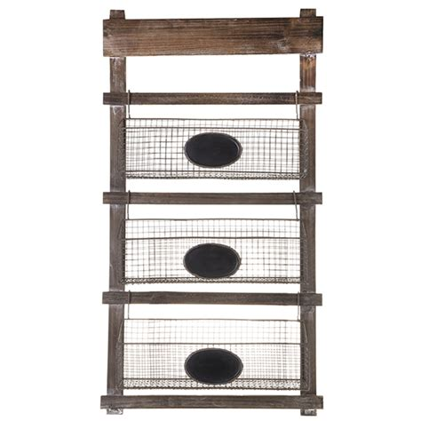 three tier wooden hanging shelf with wire planter baskets