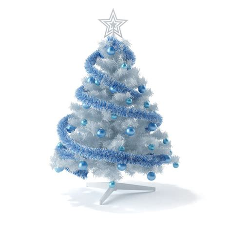white and blue christmas tree 3d model cgtrader com